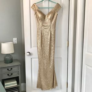 Bari Jay Fit and Flare Sequin Gown